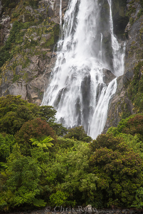 Waterfall on Milford Sound, South Island, New Zealand