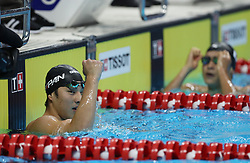 JAKARTA, Aug. 19, 2018  Seto Daiya of Japan celebrates after winning the gold medal of Men's 200m Butterfly Final in the 18th Asian Games in Jakarta, Indonesia, Aug. 19, 2018. (Credit Image: © Fei Maohua/Xinhua via ZUMA Wire)