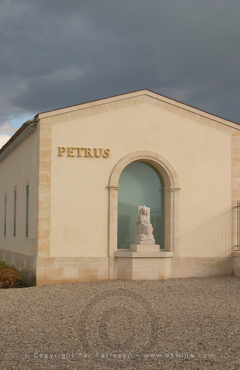 Statue of Saint Peter at the winery. Chateau Petrus, Pomerol, Bordeaux, France