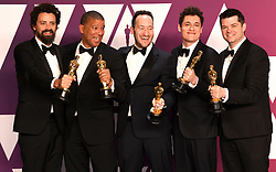 Bob Persichetti, Peter Ramsey, Rodney Rothman, Phil Lord, and Christopher Miller wins the award for best animated feature film for Spider-Man: Into The Spider-Verse in the press room at the 91st Academy Awards held at the Dolby Theatre in Hollywood, Los Angeles, USA