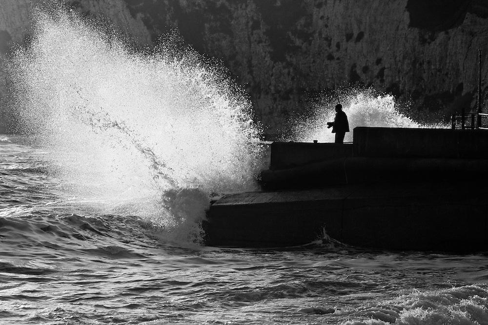 Extreme fishing at Freshwater Bay, Isle of Wight