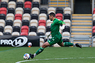 Newport County's Goalkeeper Nick Townsend (30) takes a goal kick during the EFL Sky Bet League 2 match between Newport County and Tranmere Rovers at Rodney Parade, Newport, Wales on 17 October 2020.