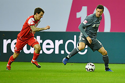 DUESSELDORF, Jan. 13, 2019  Benito Raman (L) of Duesseldorf vies with Robert Lewandowski of Munich during the Telecom cup semifinals between Fortuna Duesseldorf and FC Bayern Munich in Duesseldorf, Germany, Jan. 13, 2019. Bayern Munich won 8-7 in penalty shootout. (Credit Image: © Ulrich Hufnagel/Xinhua via ZUMA Wire)