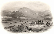 Crimean (Russo-Turkish) War 1853-1856. The Battle of Alma, 20 September 1854: River Alma, centre of picture, with Russians in position on the far side; British attacking from centre and bottom left. The Allies (Britain, France and Turkey) defeated the Russians.  Engraving c1860.
