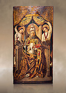 Gothic Catalan altarpiece of Saint Peter enthroned, by Roderic d'Orsona of Valencia, circa 1475, tempera and gold leaf on wood.  National Museum of Catalan Art, Barcelona, Spain, inv no: MNAC 15816. Against a art background. . .<br /> <br /> If you prefer you can also buy from our ALAMY PHOTO LIBRARY  Collection visit : https://www.alamy.com/portfolio/paul-williams-funkystock/gothic-art-antiquities.html  Type -     MANAC    - into the LOWER SEARCH WITHIN GALLERY box. Refine search by adding background colour, place, museum etc<br /> <br /> Visit our MEDIEVAL GOTHIC ART PHOTO COLLECTIONS for more   photos  to download or buy as prints https://funkystock.photoshelter.com/gallery-collection/Medieval-Gothic-Art-Antiquities-Historic-Sites-Pictures-Images-of/C0000gZ8POl_DCqE