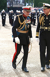 File photo dated 04/06/2014 of The Duke of Edinburgh attending the Royal Marines 350th Anniversary Beating Retreat at Horse Guards Parade, London. Prince Philip's final public engagement takes place on Wednesday, before he retires at the age of 96.
