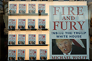 Michael Wolffes best-selling book about Donald Trump, Fire And Fury is featured in the window of Foyles bookshop, on 17th January 2018, on the Southbank, London, England.