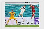 Thomas Vermaelen scores the opening goal from a corner kick. Finland - Belgium. Euro 2020. Saint Petersburg, Russia. June 21, 2021.