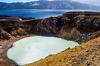 Iceland. Víti explosion crater on the north east shore of Oskjuvatn, Askja.