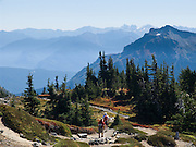 Explore fall foliage colors at Paradise in Mount Rainier National Park, Washington, USA. Skyline Trail is one of the great day hikes of the world.