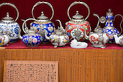 Chinese tea pots for sale on souvenir stall in Ping An near Guilin, China