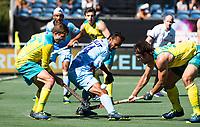 BREDA - Lalit Upadhyay (Ind.)  met Jeremy Hayward (Aus) en Jake Whetton (Aus)  .  Australia-India (1-1), finale Rabobank Champions Trophy 2018. Australia wint shoot outs.  COPYRIGHT  KOEN SUYK