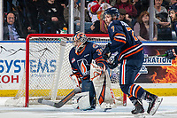 KELOWNA, BC - JANUARY 11: Dylan Garand #31 of the Kamloops Blazers defends the net against the Kelowna Rockets at Prospera Place on January 11, 2020 in Kelowna, Canada. (Photo by Marissa Baecker/Shoot the Breeze)