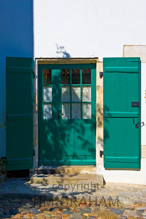Traditional door and shutters, Ile De Re, France.