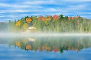 Cottage in morning fog on Horseshoe Lake<br /> Horseshoe Lake<br /> Ontario<br /> Canada