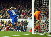 Photo: Scott Heavey.<br /> Arsenal v Chelsea. FA Cup 5th Round. 15/02/2004.<br /> Jesper Gronjkaer cant believe the off-side decision