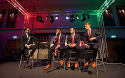 CARDIFF, WALES - Wednesday, June 1, 2016: Television presenter Gethin Jones hosts a Q&A with Wales' captain Ashley Williams, Gareth Bale and Andy King during charity send-off gala dinner at the Vale Resort Hotel ahead of the UEFA Euro 2016. (Pic by David Rawcliffe/Propaganda)