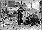Chicago policeman telephoning from a police box to bring help to an injured pedestrian. From E. Hospitalier 'Les applciations de l'Electricite', Paris, 1882. Engraving