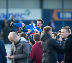 Montrose 1st goal scorer Scott Johnston at the with the fans. <br /> Montrose 3 v 1 Brora Rangers, Scottish League Two play-off second leg, today at Links Park, Montrose.