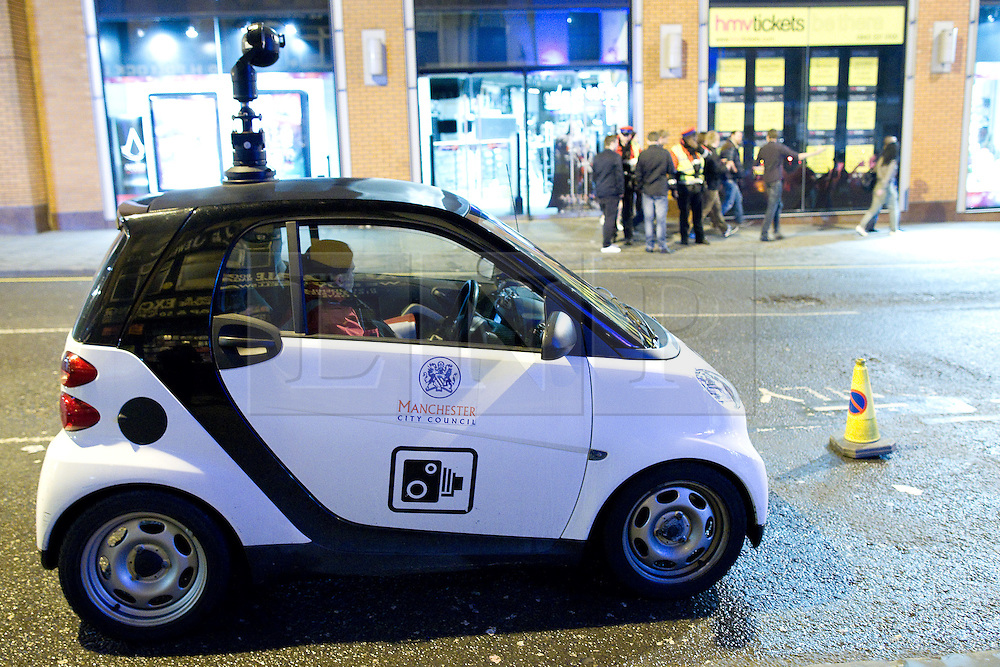 """© licensed to London News Pictures. Manchester, UK 17/12/2011. A Manchester City Council CCTV car  is parked near to the Printworks venue, Manchester. Despite freezing temperatures, """"Mad Friday"""" revellers in Manchester enjoy what is traditionally the busiest night of the year for emergency services, before Christmas. Photo credit: Joel Goodman/LNP"""