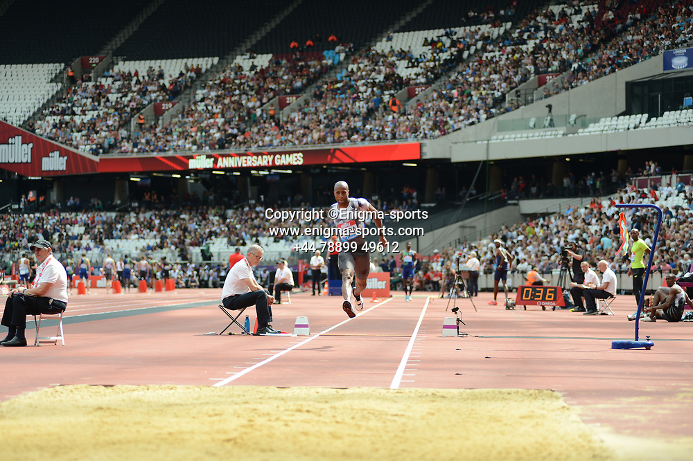 Nelson Evora competes in the men's triple jump during the IAAF Diamond League at the Queen Elizabeth Olympic Park London, England on 20 July 2019.