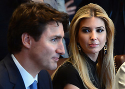 Ivanka Trump, daughter of U.S. President Trump, participates in a roundtable discussion with female executives and Prime Minister Justin Trudeau at the White House, in Washington, DC, USA, on Monday, February 13, 2017. Photo by Sean Kilpatrick/CP/ABACAPRESS.COM    582090_028 Washington Etats-Unis United States