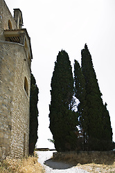 Peaceful view of a villa and cypress trees in France