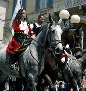 """In Sardinia there are more than 200 festivals and events during the year, but only 3 offer the opportunità to see united, un the same place, all the traditional customs of the isle: Sant'Efisio at Cagliari, the Redentore at Nuoro and the Cavalcata Sarda at Sassari.<br /> The Cavalcata, that is different from the other two celebration because it's not a religious celebration, it join varoius aspects of celebration: there isthe presentation of the customs then there is one component more sportive with skills by the riders (called """"pariglie""""), elements typically of folk-lore: songs and dances that lasts until late."""