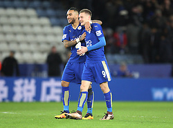 Danny Simpson (L) and Jamie Vardy of Leicester City celebrate at the final whistle - Mandatory byline: Jack Phillips/JMP - 02/02/2016 - FOOTBALL - King Power Stadium - Leicester, England - Leicester City v Liverpool - Barclays Premier League
