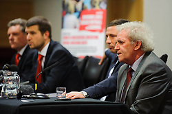 Fans put questions to Bristol City club representatives (L-R Director Doug Harman, Football Managing Director Jon Lansdown, Manager Derek McInnes (SCO) and Chairman Keith Dawe (speaking here)) at the clubs Annual Supporters Meeting held in the AMC Communications Lounge - Photo mandatory by-line: Rogan Thomson/JMP - Tel: Mobile: 07966 386802 06/12/2012 - SPORT - FOOTBALL - Ashton Gate - Bristol - Club AGM.