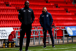 Bristol Rovers manager Ben Garner and Doncaster Rovers manager Darren Moore - Mandatory by-line: Robbie Stephenson/JMP - 26/09/2020 - FOOTBALL - The Keepmoat Stadium - Doncaster, England - Doncaster Rovers v Bristol Rovers - Sky Bet League One
