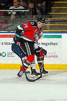 KELOWNA, BC - OCTOBER 12: Josh Pillar #9 of the Kamloops Blazers stick checks Kyle Topping #24 of the Kelowna Rockets at Prospera Place on October 12, 2019 in Kelowna, Canada. (Photo by Marissa Baecker/Shoot the Breeze)