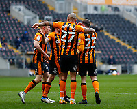 Hull City's Gavin Whyte is congratulated by Josh Magennis Greg Docherty and George Honeyman after he scores his side's second goal in the 60th minute to make it 2-0<br /> <br /> Photographer Lee Parker/CameraSport<br /> <br /> The EFL Sky Bet League One - Hull City v Bristol Rovers - Saturday 6th March 2021 - KCOM Stadium - Kingston upon Hull<br /> <br /> World Copyright © 2021 CameraSport. All rights reserved. 43 Linden Ave. Countesthorpe. Leicester. England. LE8 5PG - Tel: +44 (0) 116 277 4147 - admin@camerasport.com - www.camerasport.com