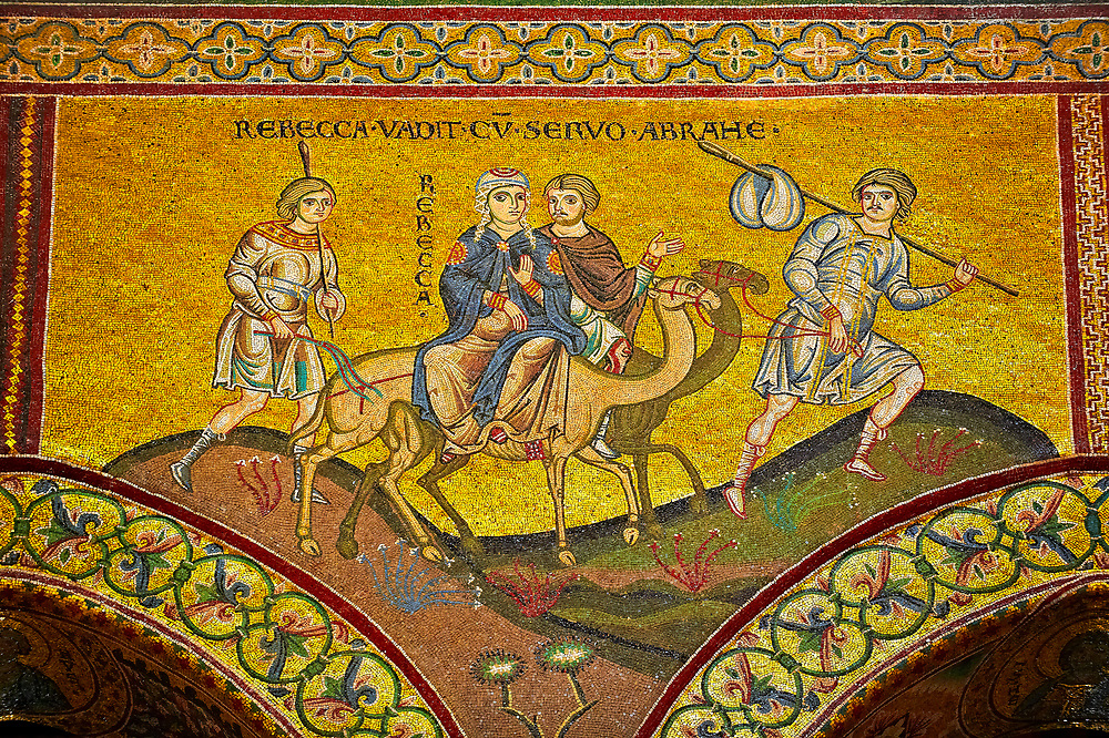 Medieval Byzantine mosaics of Rebecca and Abraham  Monreale Cathedral, Sicily .<br /> <br /> If you prefer you can also buy from our ALAMY PHOTO LIBRARY  Collection visit : https://www.alamy.com/portfolio/paul-williams-funkystock/monrealeduomomosaics.html. Refine search by adding subject etc  into the LOWER SEARCH WITHIN GALLERY box. <br /> <br /> Visit our BYZANTINE MOSAIC PHOTO COLLECTION for more   photos  to download or buy as prints https://funkystock.photoshelter.com/gallery-collection/Roman-Byzantine-Art-Artefacts-Antiquities-Historic-Sites-Pictures-Images-of/C0000lW_87AclrOk