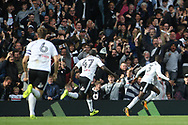 Ryan Sessegnon of Fulham (R) celebrates after he scores his team's first goal. EFL Skybet football league championship match, Fulham v Cardiff city at Craven Cottage in London on Saturday 9th September 2017.<br /> pic by Steffan Bowen, Andrew Orchard sports photography.