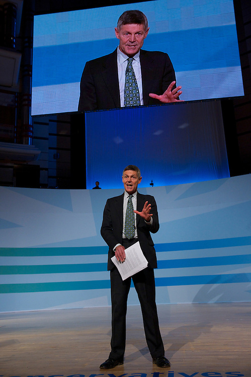 Journalist Matthew Parris addresses delegates on the fourth, and final, day of the Conservatives Party Conference at the ICC, Birmingham, England on October 6, 2010.  Mr. Cameron delineated the controversial spending cuts which have drawn much ire of the public and fellow MPs alike.