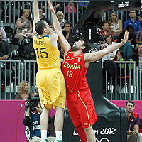 31 July 2012: Australia Aleks Maric goes for the skyhook over Spain Marc Gasol during the 82-70 Spain victory over Australia, during the men's basketball preliminary, at the Basketball Arena, in London, Great Britain.