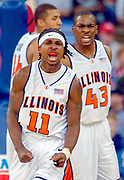 University of Illinois' Dee Brown celebrates an offensive play in the first half.