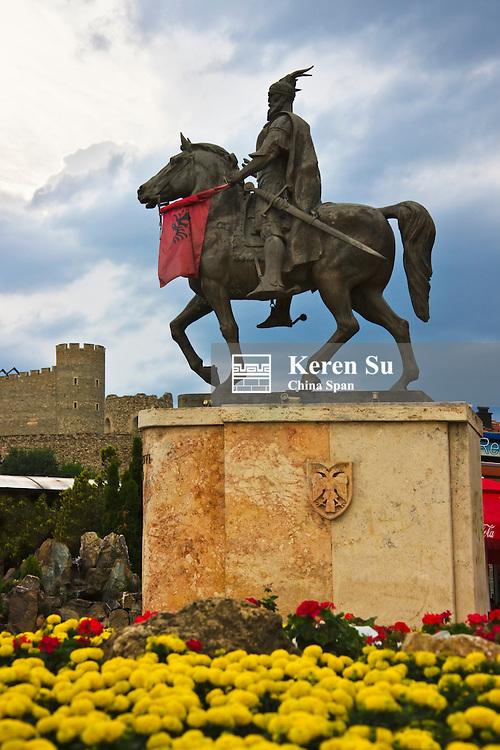 Statuesof Skanderbeg and Kale Fortress, Skopje, Republic of Macedonia, Europe