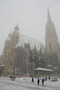 Vienna, Austria. St. Stephen's church. .On 1/17/2013, 30+ centimeters of snow fell in Vienna, slowing down many aspects of public life.
