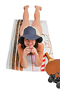 Woman sunbathes On white Background