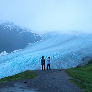Blaze (L) and Zane Menendez from Orlando, Florida overlook the Harding Icefield at the Kenai Fjords National Park in Seward, Alaska, on Thursday, August 4, 2016. (Alex Menendez via AP)