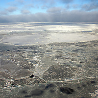 Hudson Bay starting to freeze  but the ice is not thick enough to