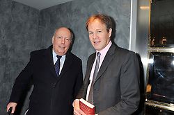 Left to right, LORD FELLOWES and TOM BRADBY at a party to celebrate the publication of Fame Game by Louise Fennell held at Grace, West Halkin Street, London on 12th March 2013.