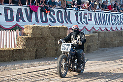 Adam King on his 1938 Harley-Davidson Knucklehead at the Bradford Beach Brawl, a TROG style beach racing event, during the Harley-Davidson 115th Anniversary Celebration event. Milwaukee, WI. USA. Saturday September 1, 2018. Photography ©2018 Michael Lichter.
