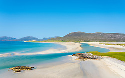 View of Luskentyre Beach and Sound of Taransay, from Seilebost on the Isle of Harris, Outer Hebrides, Scotland, UK