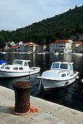 View of harbour and boats, Racisce, island of Korcula, Croatia