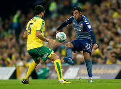Charlton Athletic's Lee Novak and Norwich City's Russell Martin battle for the ball