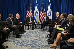"""Prime Minister of Israel Benjamin Netanyahu and U.S. President Barack Obama meet during a bilateral meeting at the Lotte New York Palace Hotel, September 21, 2016 in New York City. Last week, Israel and the United States agreed to a $38 billion, 10-year aid package for Israel. Obama is expected to discuss the need for a """"two-state solution"""" for the Israeli-Palestinian conflict. Photo by Drew Angerer/Pool/ABACAPRESS.COM"""