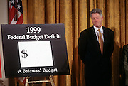 US President Bill Clinton smiles as he unveils the first balanced federal budget in the East Room of the White House February 2, 1999 in Washington, DC.